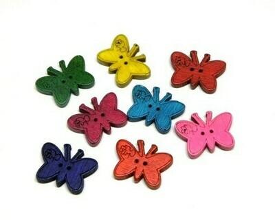 Bottoni Farfalle di Legno 30 pz