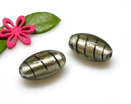 Perle in vetro Oliva Grigio 30x18 mm-2 pezzi