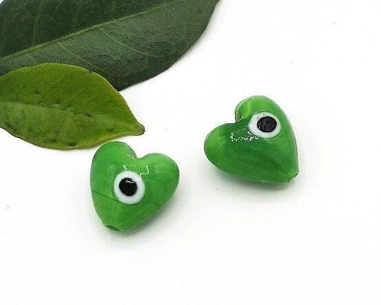 Perle Cuore Verde 20 mm-4 pz