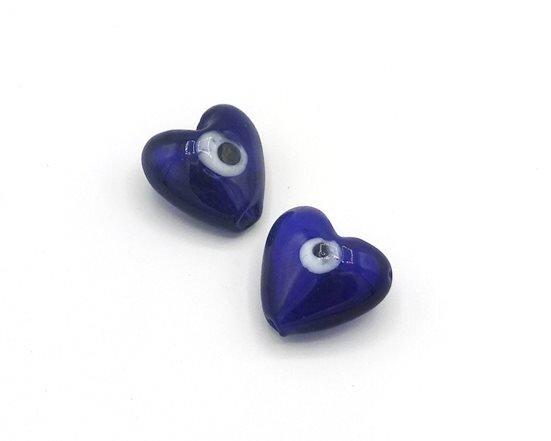 Perle Cuore Blu 20 mm-4 pz