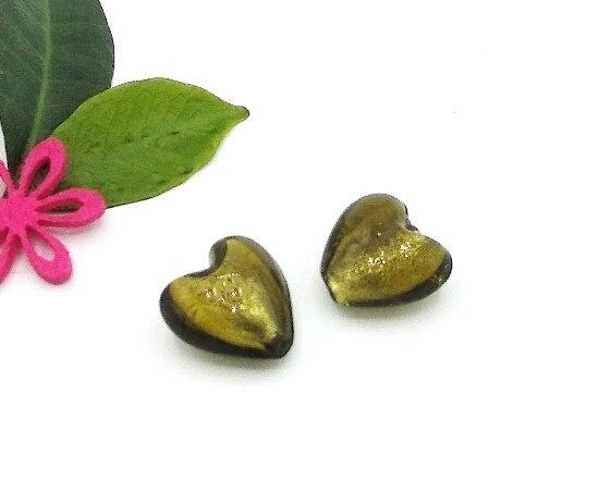 Perle Cuore Verde argento 20 mm-4 pz