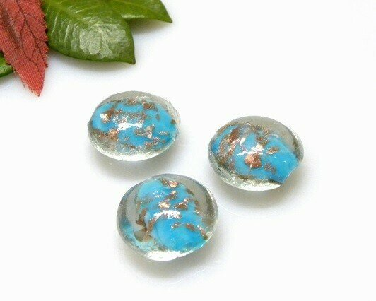 Perle in vetro Lente piatta Celeste 20 mm-4 pz