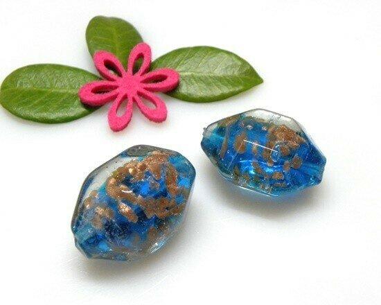 Perle in vetro Sasso azzurro 31x24 mm- 1pz