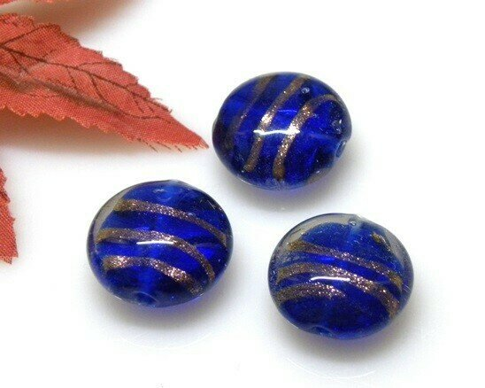 Perle in vetro Lente piatta Blu 20 mm-4 pz