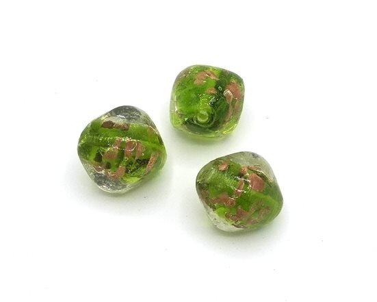 Perle in vetro Rombo Verde 23x20 mm-2 Pz