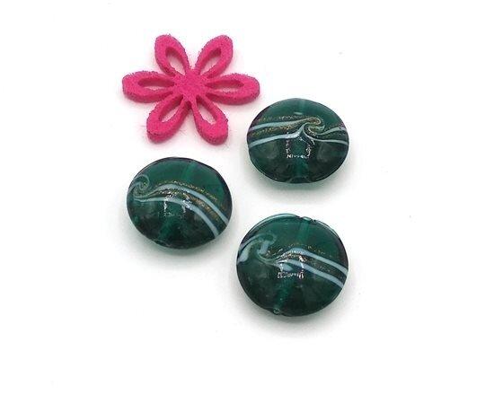 Perle in vetro Lente piatta laguna 20 mm- 4 pz
