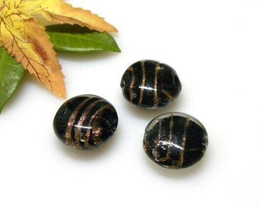 Perle in vetro Lente piatta Nero 20 mm-4 pz