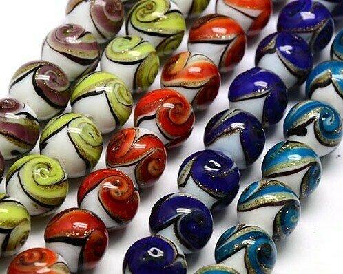 Perle in vetro Tondo 12 mm Mix color 5 pz