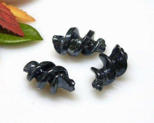 Perle in vetro Fusillo Nero AB 28x16 mm-2 pz