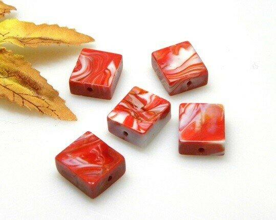 Perle in vetro Rettangolo Rosso 16x14 mm-4 pz