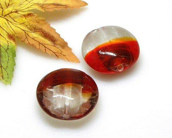 Perle in vetro Lente piatta bicolor 28 mm-2pz