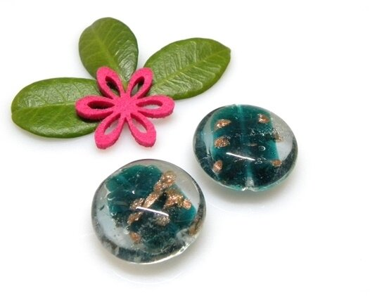 Perle in vetro Lente piatta Verde 28 mm-2 pz