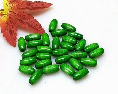 Perle di legno ovali Verde 14,5x7,5 mm