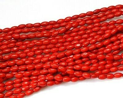 Perle di legno Ovali Rosse 10x6 mm