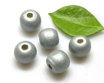 Perle di legno Argento