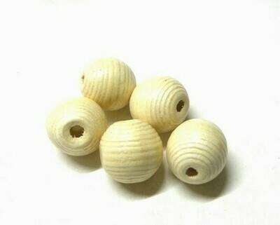 Perle di legno Rigate Panna 19,5x20 mm