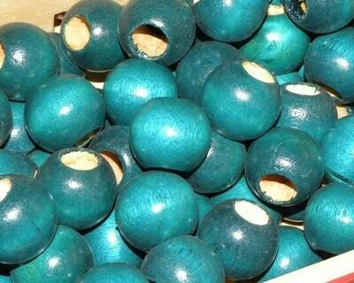 Perle di legno a foro largo Verde Laguna 23,5x21 mm