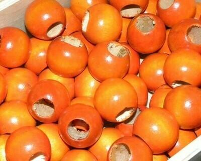 Perle di legno a foro largo Arancio 23,5x21 mm