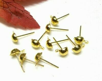 Perno con pallina e gancio 4 mm oro