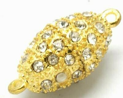 Chiusura calamita ovale oro con strass 25x13 mm