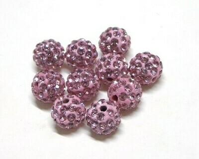 Perle con brillantini strass Rosa antico 5 pz