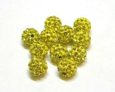 Perle con brillantini strass Giallo 5 pz