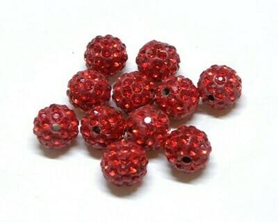 Perle con brillantini strass Rosso Chiaro 5 pz