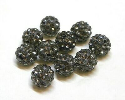 Perle con brillantini strass Grigio 5 pz