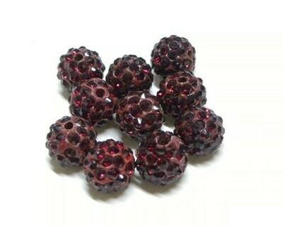 Perle con brillantini strass Rosso Scuro 5 pz