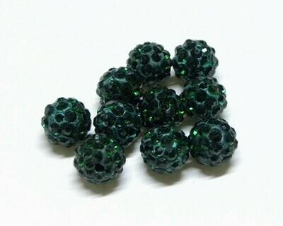 Perle con brillantini strass Verde Scuro 5 pz