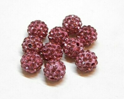 Perle con brillantini strass Rosa intenso 5 pz
