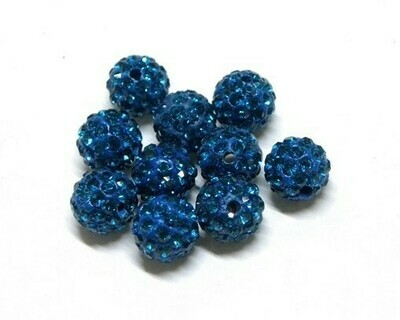 Perle con brillantini strass Blu Navy 5 pz