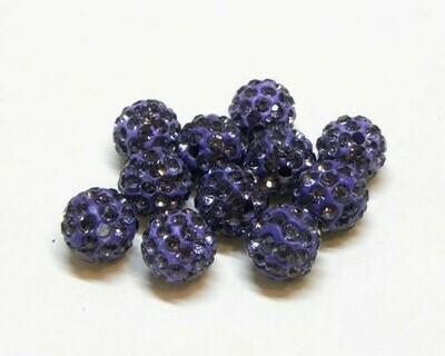 Perle con brillantini strass Viola Scuro 5 pz