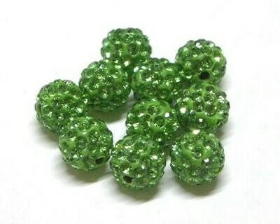 Perle con brillantini strass Verde Mela 5 pz