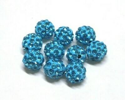 Perle con brillantini strass Azzurro 5 pz