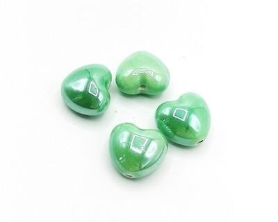 Cuore Bombato Verde 15,5x17mm