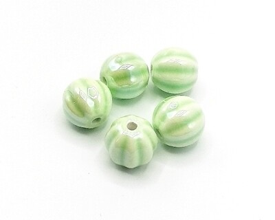 Perla in ceramica Rigata Verde Chiaro 12 mm
