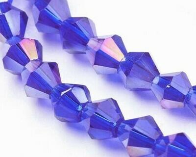 Cristalli bicono 4 mm blu boreale