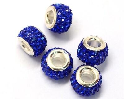 Perla foro largo con strass Blu