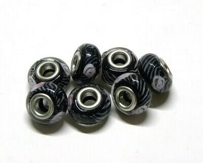 Perle foro largo nero fiori