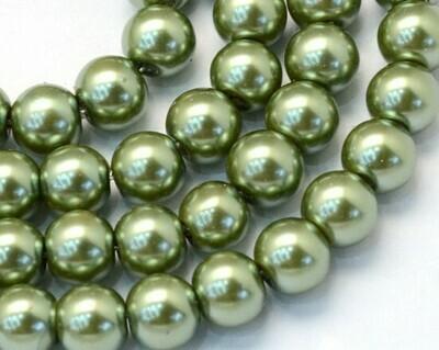 Filo di Perle in vetro Verde Militare 8 mm