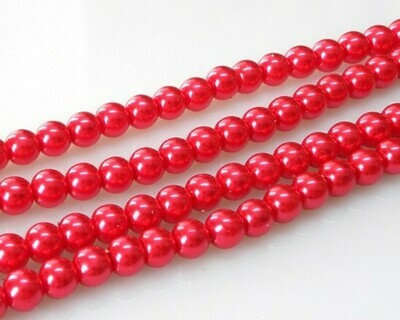 Filo di Perle in vetro Rosso chiaro 8 mm