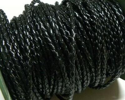 Cordone Ecopelle intrecciato nero lucido 2 mt