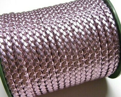 Treccia piatta Ecopelle Rosa Metal - 3 mt