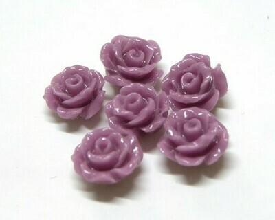 Rose di resina Lilla scuro 14 mm