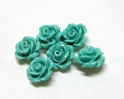 Rose di resina Turchese sfumato 10x8 mm