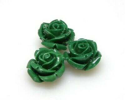 Rose resina Verde scuro 14mm