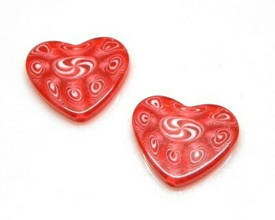 Cuore in resina rosso 2 pz