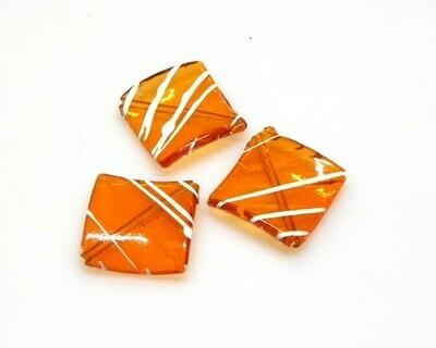 Perle a rombo in resina arancio