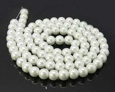Filo di Perle in vetro Bianco 8 mm